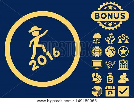 Gentleman Climbing 2016 icon with bonus elements. Vector illustration style is flat iconic symbols yellow color blue background.