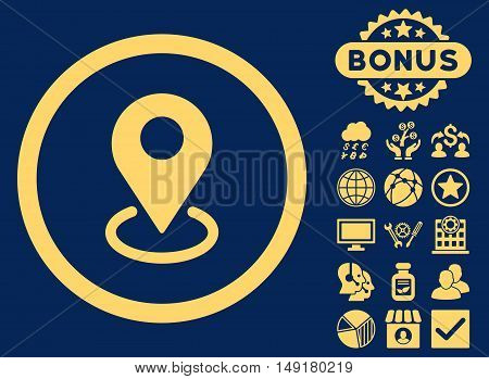 Geo Targeting icon with bonus pictures. Vector illustration style is flat iconic symbols yellow color blue background.