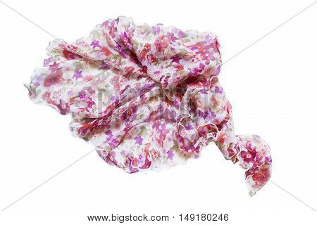 Silk colorful kerchief folded on white background