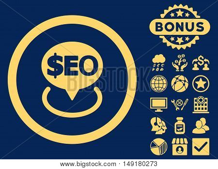 Geotargeting Seo icon with bonus pictures. Vector illustration style is flat iconic symbols yellow color blue background.