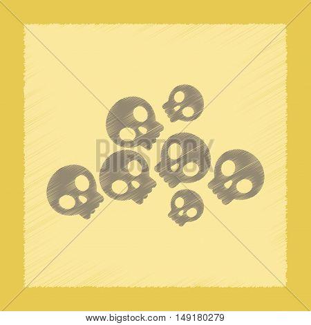 flat shading style icon of halloween skulls