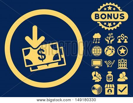 Get Banknotes icon with bonus symbols. Vector illustration style is flat iconic symbols yellow color blue background.