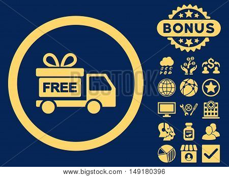 Gift Delivery icon with bonus pictogram. Vector illustration style is flat iconic symbols yellow color blue background.