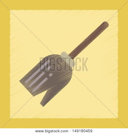 flat shading style icon of halloween Witch broom