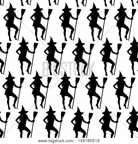 Halloween witches seamless pattern. Black vector silhouettes of beautiful witch standing with broomstick. Background for Halloween design.