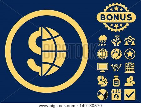 Global Business icon with bonus pictures. Vector illustration style is flat iconic symbols yellow color blue background.