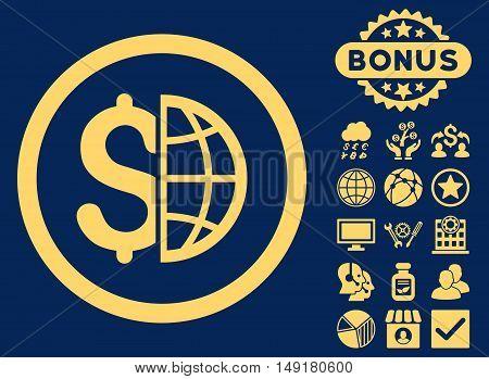 Global Business icon with bonus symbols. Vector illustration style is flat iconic symbols yellow color blue background.