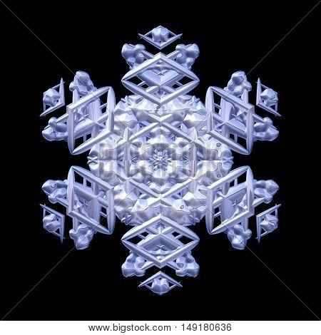 Winter decorative snowflake on black background image