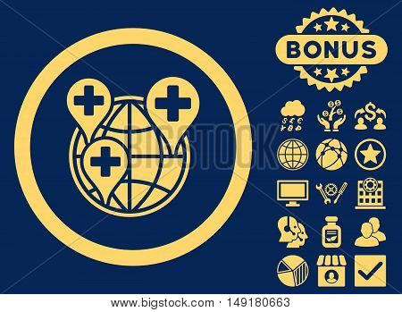 Global Clinic Company icon with bonus images. Vector illustration style is flat iconic symbols yellow color blue background.