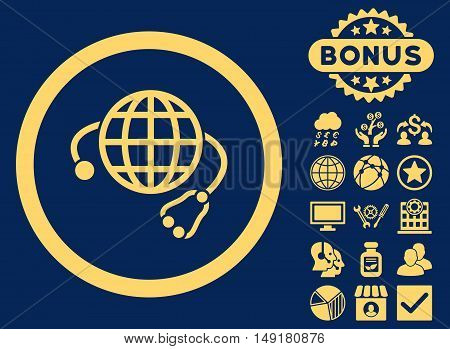 Global Medicine icon with bonus elements. Vector illustration style is flat iconic symbols yellow color blue background.