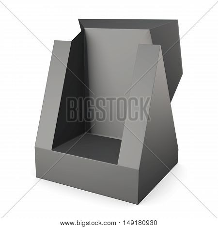 Black packaging carton box on a white. 3d rendering.