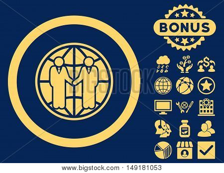 Global Partnership icon with bonus symbols. Vector illustration style is flat iconic symbols yellow color blue background.