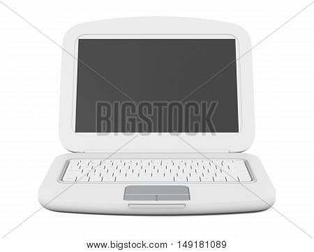Laptop Isolated On White Background. 3D Rendering