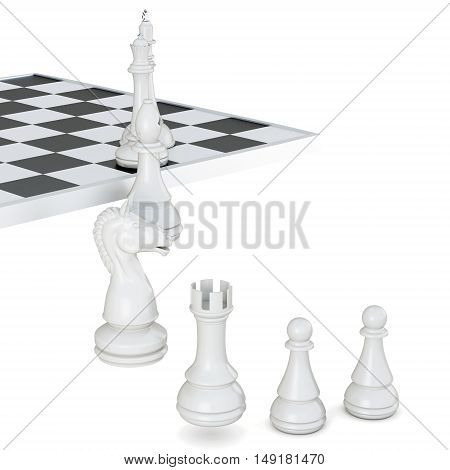 Chess Pieces Isolated On A White Background. 3D Rendering