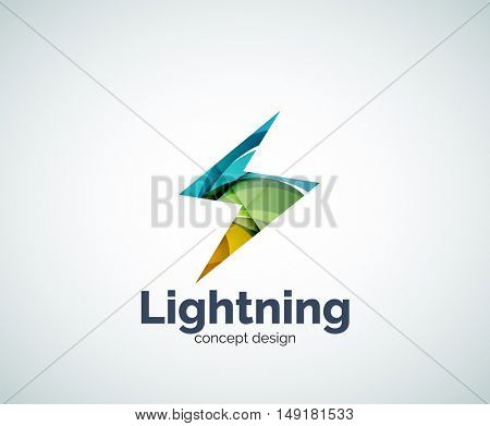 Lightning logo template, abstract geometric glossy business icon