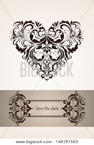 Wedding vertical invitation with vintage floral heart shape