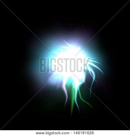 Gleaming rainbow colored lighting comet on black background