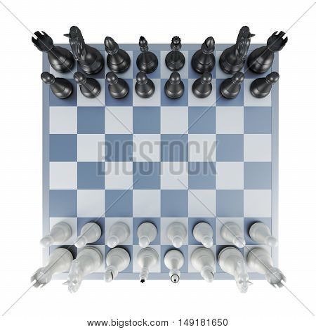Chess Top View Isolated On White Background. 3D Rendering