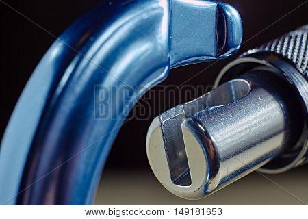 macro close up part of blue carabiner