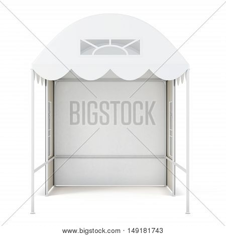Exhibition Advertising Tent On White Background. 3D Rendering