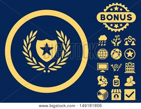 Glory Shield icon with bonus images. Vector illustration style is flat iconic symbols yellow color blue background.