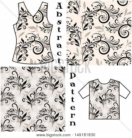 Seamless Floral Pattern, Contours and Silhouettes Symbolical Flowers and Plants, Background for Design, Prints and Banners, For the Example Presented in a Female Top and Shirt. Vector