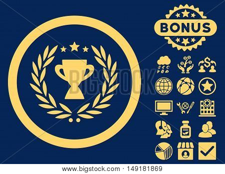 Glory icon with bonus symbols. Vector illustration style is flat iconic symbols yellow color blue background.