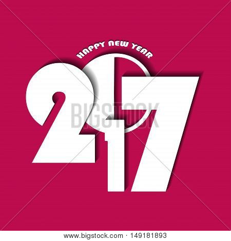 New Year 2017 Concept On Pink Background. Vector Illustration
