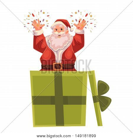 Santa Claus popping out of a Christmas gift box, cartoon style vector illustration isolated on white background. Full length portrait of Santa popping out of present box, Christmas decoration element