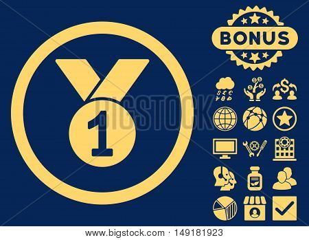 Gold Medal icon with bonus pictogram. Vector illustration style is flat iconic symbols yellow color blue background.