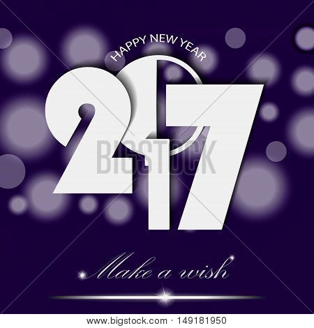 New Year 2017 Concept On Violet Ambient Background. Vector Illustration