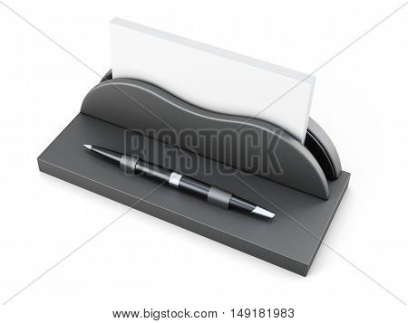 Business Card Holder With Pen On White Background. 3D Rendering