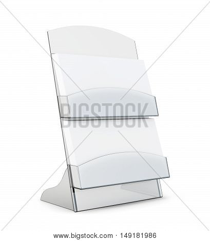 Card Holder With Blank Card Isolated On White Background. 3D Rendering