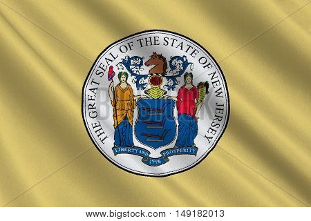 Flag of New Jersey is a state of United States. 3D illustration