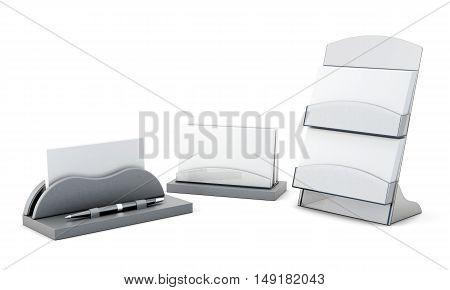 Set Of Card Holder Isolated On White Background. 3D Rendering