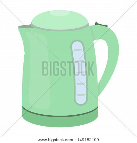 Electrical kettle icon in cartoon style isolated on white background. Household appliance symbol vector illustration.