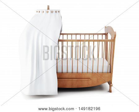 Wooden Crib With Canopy Isolated On White Background. 3D Rendering