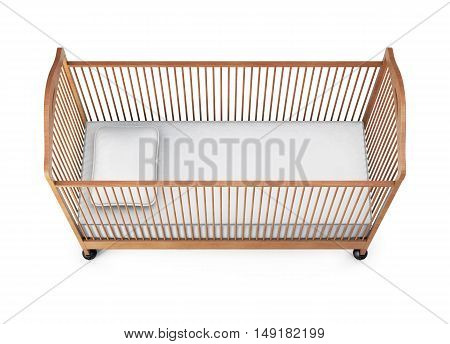 Baby Cot Isolated On White Background. 3D Rendering