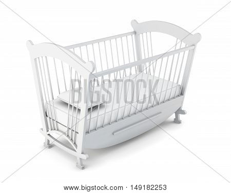 White Cot Bed Isolated On White Background. 3D Rendering