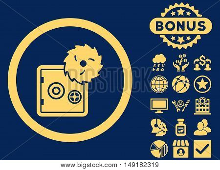 Hacking Theft icon with bonus design elements. Vector illustration style is flat iconic symbols yellow color blue background.