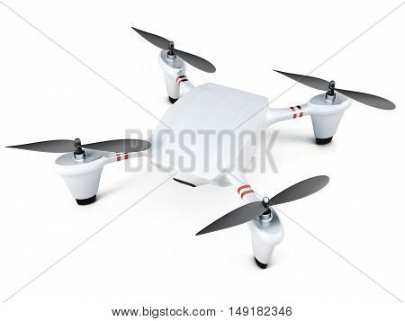 Quadrocopter Top View On White Background. 3D Rendering