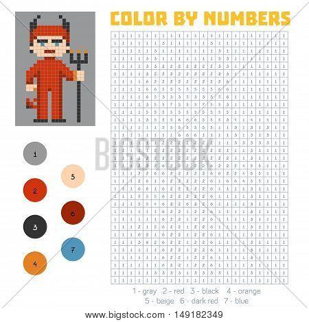 Color by number, education game for children, Devil