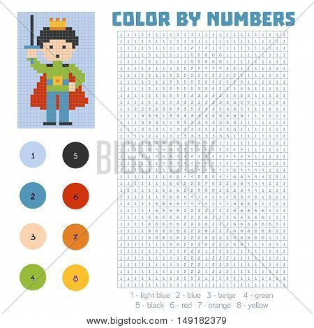 Color by number, education game for children, Prince