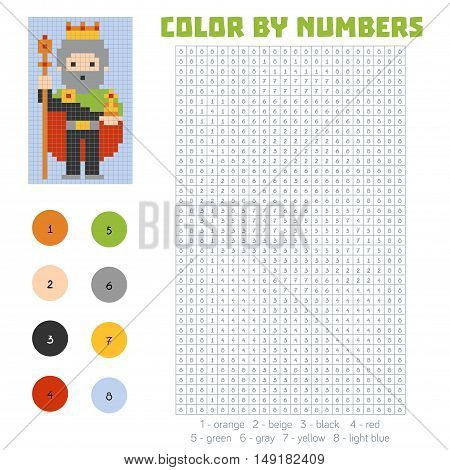 Color by number, education game for children, King