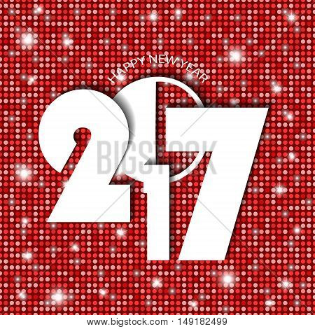 New Year 2017 Concept On Red Shining Rounds Background. Vector Illustration