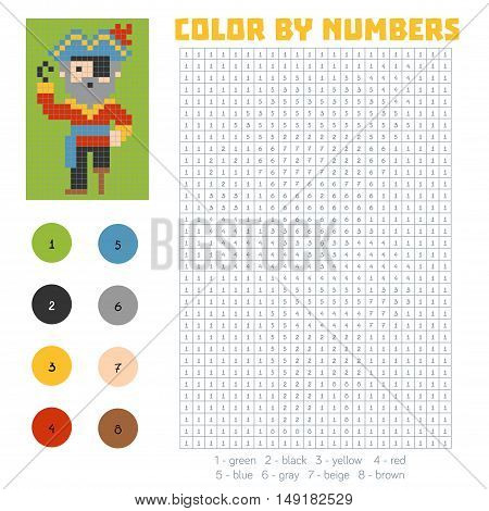 Color by number education game for children, Pirate