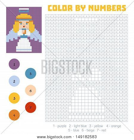 Color by number education game for children, Angel