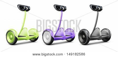 Set Of Gyro Scooter With Handle. 3D Rendering