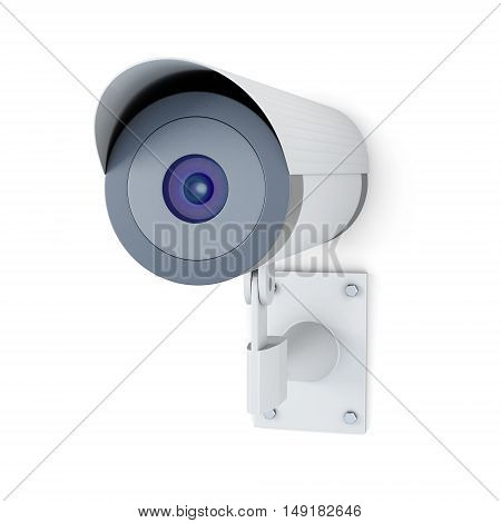 Surveillance Camera Isolated On White Background. 3D Rendering