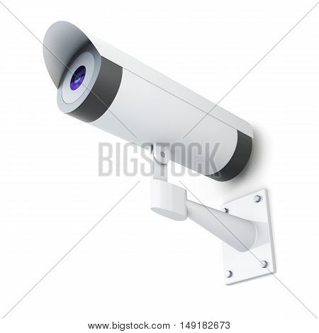 Video Surveillance System Isolated On A White Background. 3D Rendering